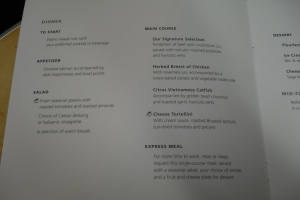 Envoy dinner menu