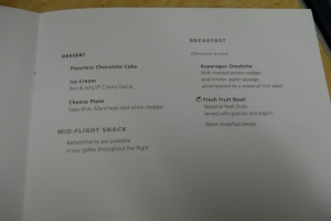 Envoy dinner menu continued