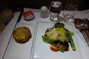 Appetizer of vegetables and mushrooms