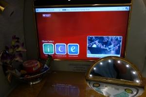 Giant screen, snacks, and vanity mirror