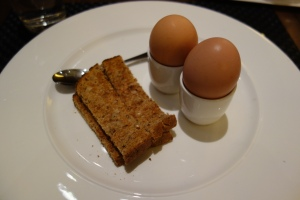 Soft-boiled eggs with toasted soldiers