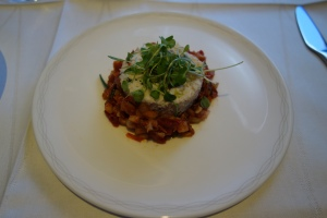 Poached lobster and cod timbale