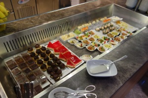 Desserts and cold food selection