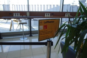 Small roped off seating area for Lufthansa first class passengers