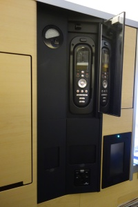 Entertainment controls with mirror and plugs