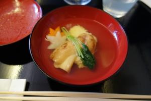 Soup of sea bream and matsutake mushrooms