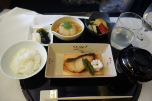 Simmered turnip, shrimp and surf clam, pickles, grilled sablefish, rice, miso soup