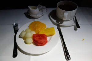 Fruit plate and tea