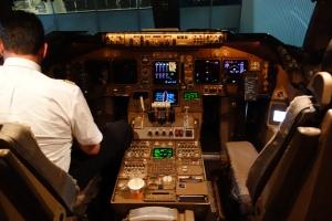 B747-400 cockpit after landing