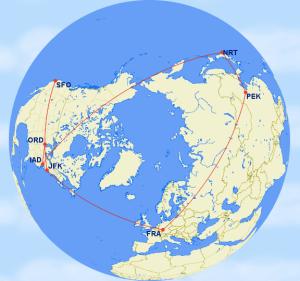 Clocks in at 21,812 miles according to gcmap.com