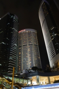 View of the Conrad at night