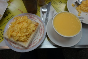 Scrambled eggs and egg custard from Australia Dairy Company