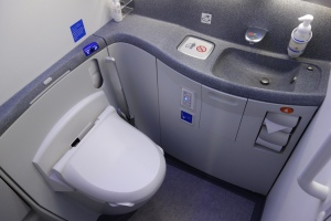 Spacious for an airplane lavatory