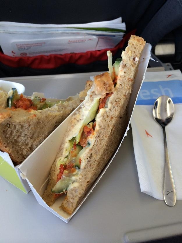 Decently tasty hummus and vegetable sandwich