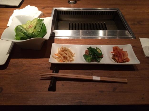 Assorted kimchi and salad