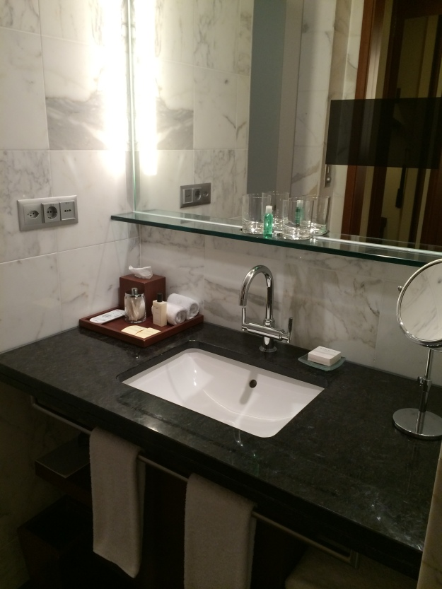 Sink and mirror with built-in screen