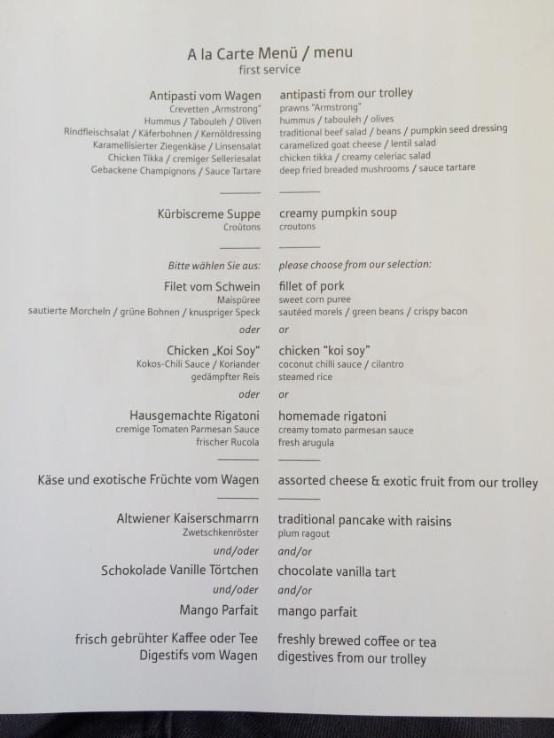 Main menu for the flight