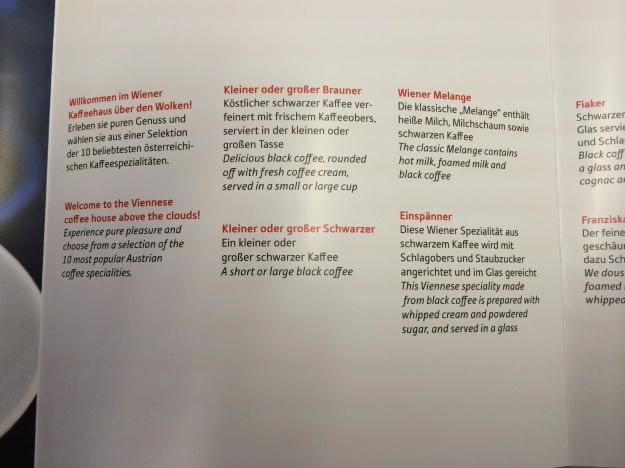 Coffee menu part 1