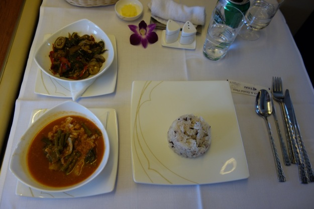Basil mushroom dish and spicy sour curry